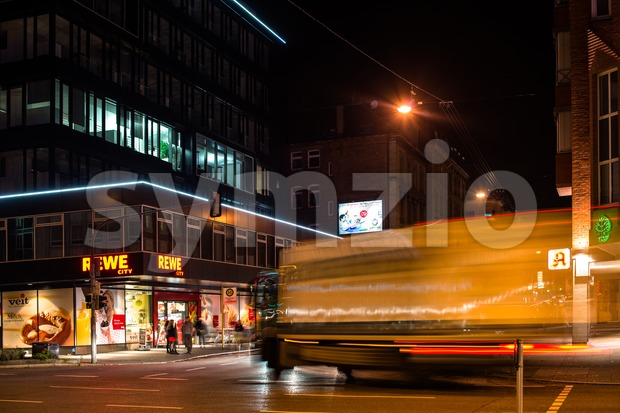 night scenery at the crossroads - truck Stock Photo