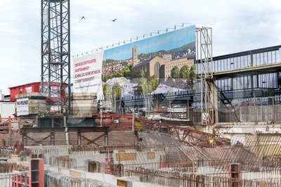 S21 Construction Site at Stuttgart main railway station Stock Photo
