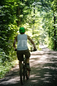 Young man mountain biking in the forest Stock Photo