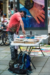 Artist in public Stock Photo