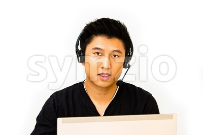 Business man with headset Stock Photo