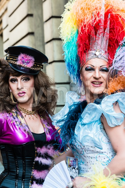 Gorgeous participants of Christopher Street Day Stock Photo