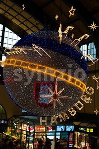 Christmas decoration in main station of Hamburg, Germany Stock Photo