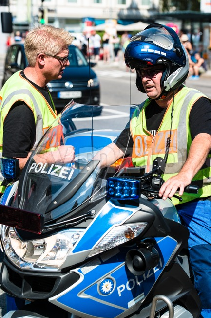 Police during Christopher Street Day Stock Photo