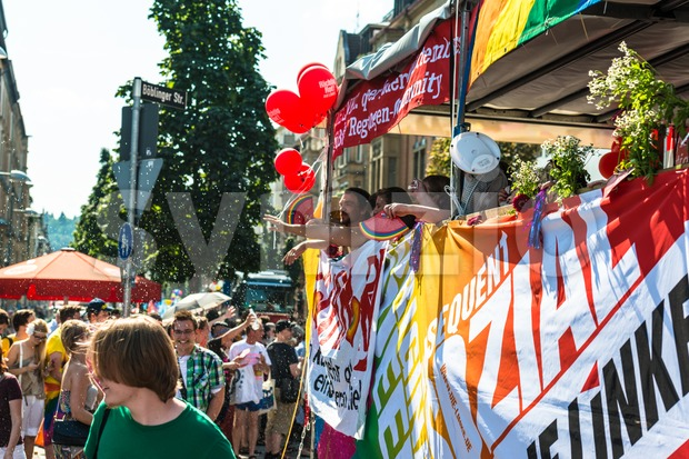 Die Linke Partei (The Leftwing party) is participating on Christopher Street Day Stock Photo
