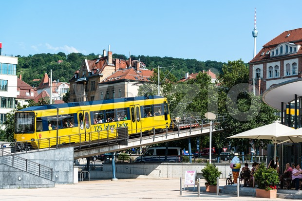 STUTTGART, GERMANY – JULY 27, 2013: Zacke, the gearwheel driven train is leaving Marienplatz on July 27, 2013 in Stuttgart, ...