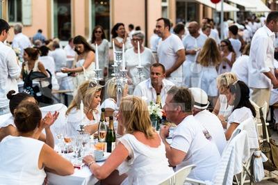 Diner en blanc - White Dinner Stock Photo