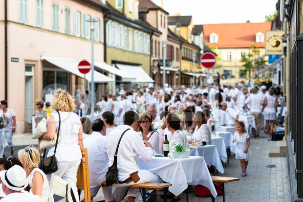 Diner en blanc - White Dinner Stock Photo