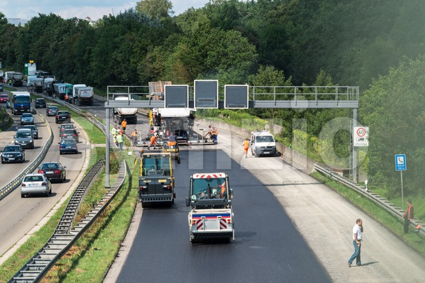 Construction works on German interstate Stock Photo