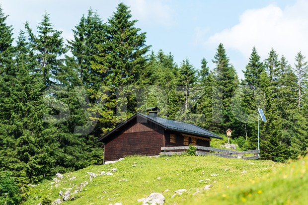 Mountain refuge with solar panels Stock Photo