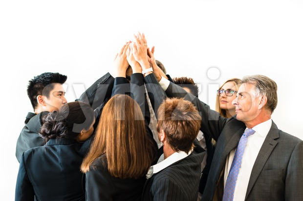 Teamwork - business people with joint hands Stock Photo