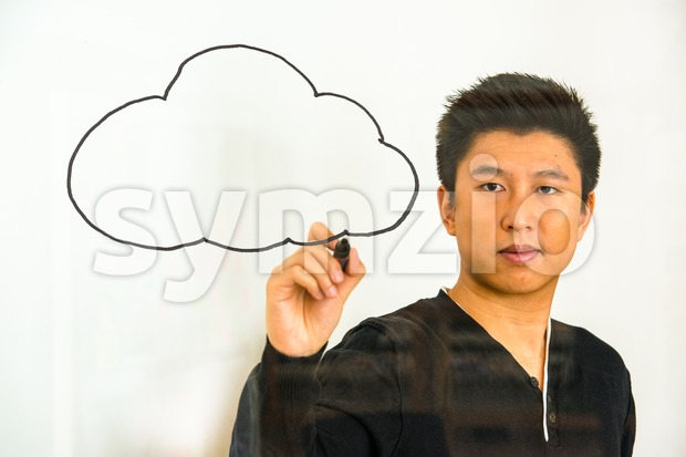 cloud computing - writing on glass Stock Photo