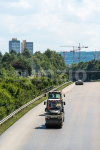 Road rollers during asphalt paving works Stock Photo