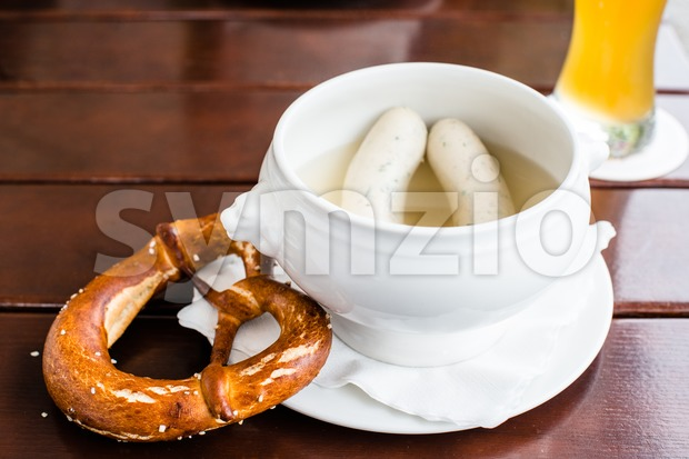 Bavarian Weisswurst, Pretzel and Beer Stock Photo