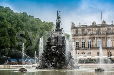Fountain figures in front of castle Herrenchiemsee Stock Photo