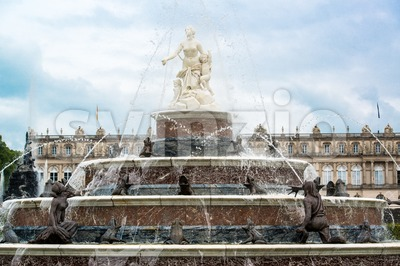 Latona Fountain in castle Herrenchiemsee Stock Photo
