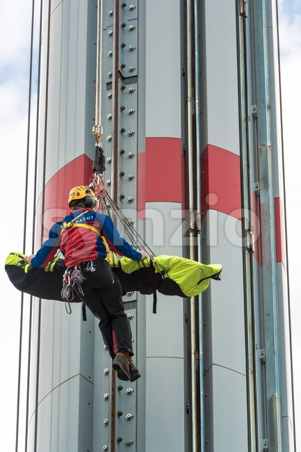 Rescuer on the ropes Stock Photo