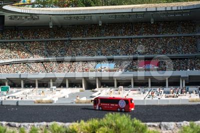 Munich soccer stadium built using Lego bricks Stock Photo