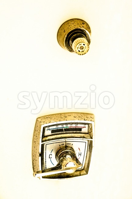 Vintage American shower faucet for cold and hot water in the bathroom.