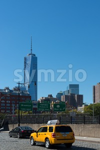 Lower Manhattan skyline with Freedom Tower Stock Photo