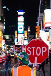 Construction work on Times Square, New York Stock Photo