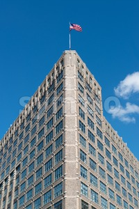 American Building And Flag Stock Photo