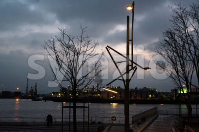 Hamburg harbour at night Stock Photo