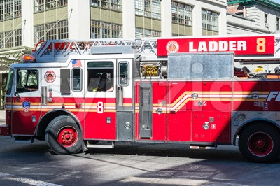NYFD vehicle in midtown Manhattan Stock Photo
