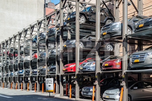 NEW YORK, USA - SEPTEMBER 28, 2013: An automated car parking system on September 28, 2013 in Manhattan, New York ...