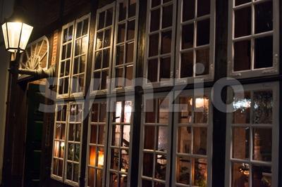 Traditional pub window Stock Photo