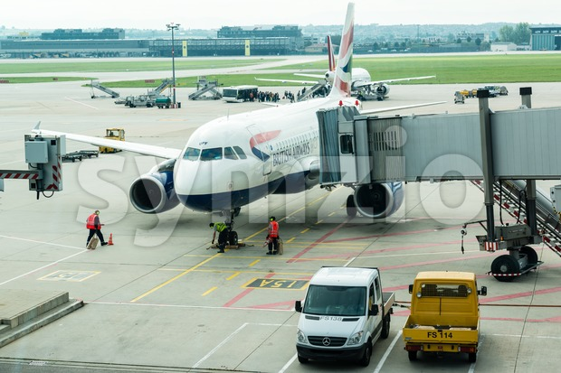 Aircrafts ready for boarding at Stuttgart Airport Stock Photo