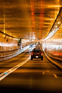Tunnel traffic in New York Stock Photo
