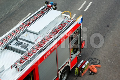 Fire truck and equipment Stock Photo