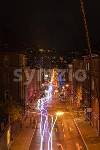 Stuttgart streets at night Stock Photo