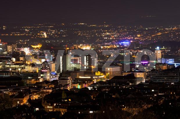 Stuttgart panorama at night with main station Stock Photo
