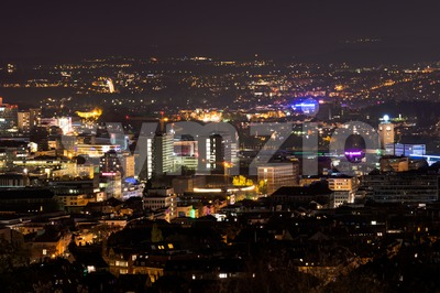 Stuttgart panorama at night with main station Stock Photo
