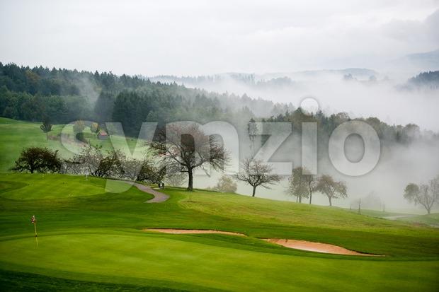 Autumn on the golf course Stock Photo