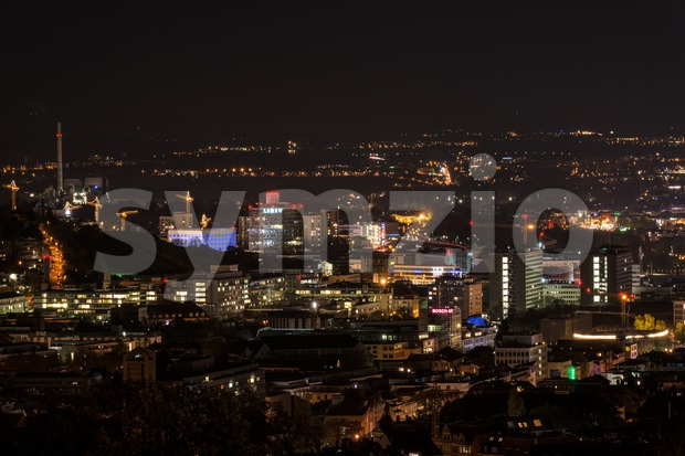 Stuttgart panorama at night with new public library Stock Photo