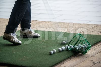 Golf - practice area Stock Photo