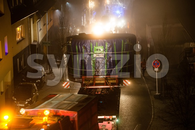 Tunnel digging machinery loaded on a flatbed trailer Stock Photo