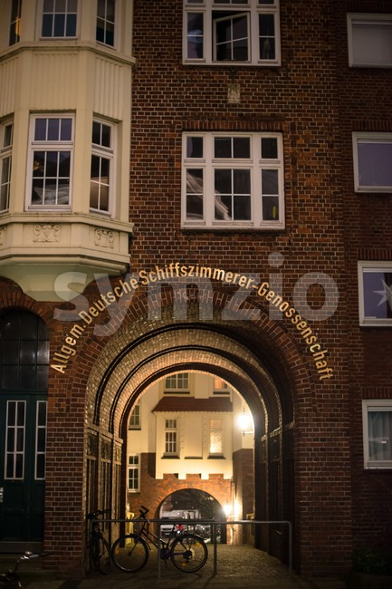Old building around St, Michel church in Hamburg, Germany Stock Photo