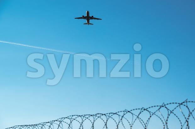 airplane departing Stock Photo