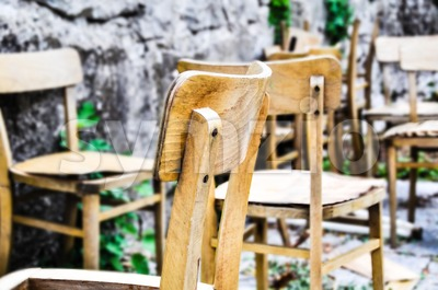 Vintage old school chairs Stock Photo