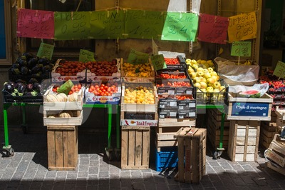 Italian greengrocer Stock Photo
