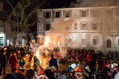 End of Carnival - burning a puppet Stock Photo