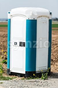 Blue Portable Toilet Stock Photo