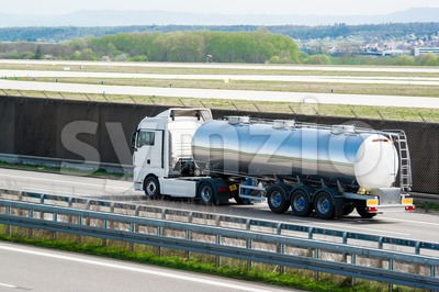 tanker truck on highway Stock Photo