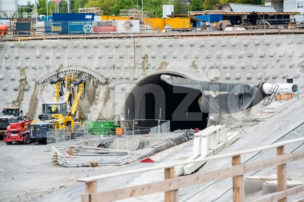 Tunnel drilling site Stock Photo