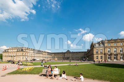 Main square in Stuttgart (Germany) city center Stock Photo