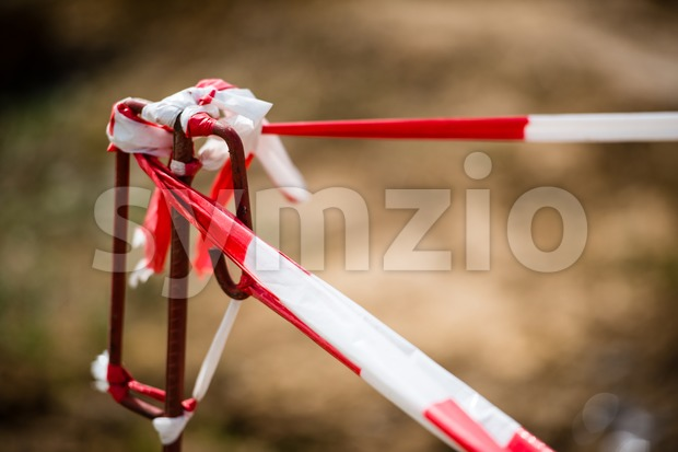 Red White Do Not Cross Ribbon Tape And Metallic Post